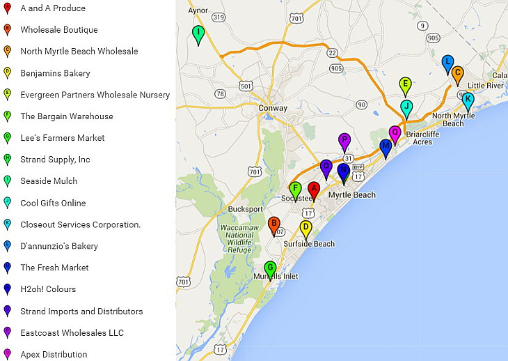 Map Of Myrtle Beach Wholesalers And Distributors